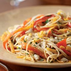 Heres a way to use the power vegetables sweet potato and red bell pepper in a satisfying vegetarian pasta dish full of fresh herbs and creamy goat cheese. Any fresh herbs you have on hand, like basil, oregano, sorrel or chives, can be substituted for the tarragon. Serve with a garden salad.