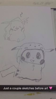 Quick sketches of Pikachu inspired by pictures online