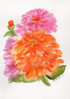 original watercolor painting Zinnias ART Orange by SharonFosterArt, $32.50