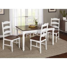 Skipton 5-Piece Dining Set, White/Walnut, Box 1 of 3, Multicolor