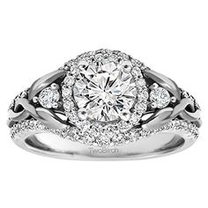 This infinity engagement ring features a Forever Brilliant Moissanite by Charles Colvard stone prong set as the center stone and a halo of Forever Brilliant Moissanite by Charles Colvard stones. Braided Engagement Rings, Engagement Rings Sale, Cushion Cut Engagement Ring, Classic Engagement Rings, Engagement Ring Settings, Diamond Engagement Rings, Solitaire Engagement, Matching Wedding Rings, Cubic Zirconia Engagement Rings