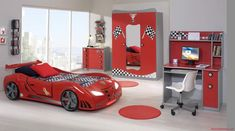 Bedroom Varied Creative Kids Bedroom With Car Bed Perfect For . Cars Bedroom Set, Car Themed Bedrooms, Boys Bedroom Decor, Bedroom Themes, Bedroom Ideas, Bedroom Wall, Bedroom Mirrors, Master Bedroom, Childrens Bedroom Furniture