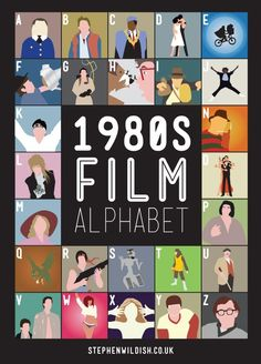 80s movies- I can't name all of them, help! A-airplane B-back to the future C-coming to America D-dirty dancing E-ET F-flight of the navigator G-ghostbusters H-honey, I shrunk the kids I-Indiana Jones J-jumping jack flash K-karate kid L-labyrinth M- N-nightmare on elm street O-octopussy P-princess bride Q-q R-rambo S-short circuit T-teen wolf U-Uncle Buck V- W-weird science X-Xanadu Y-youngblood Z-zelig