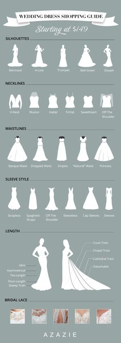 """Dec 2019 - We're here to help you pinpoint the wedding dress silhouette that brings out your best. Let us match you with the perfect dress silhouette to help you say """"I do."""" dresses gowns wedding dresses dress guide Wedding Dress Types, Dream Wedding Dresses, Wedding Dress For Short Women, Winter Wedding Dresses, Different Wedding Dress Styles, Wedding Dress Drawings, Different Types Of Dresses, Wedding Outfits, One Shoulder Wedding Dress"""