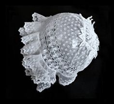 Baby Bonnet French Antique Bonnet Embroidered Tulle Exquisite