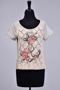 FLORAL ANCHOR PRINT LACE KNIT TOP