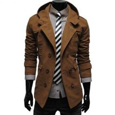 Wholesale Fashion Style Solid Color Hooded Double-Breasted Long Sleeves Polyester Coat For Men (BROWN,M), Jackets & Outerwear - Rosewholesale.com