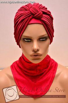 Turban plain red 01 - Hijab Online Store