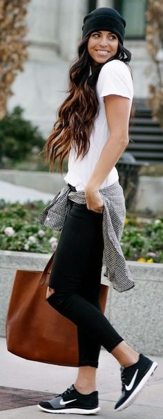 Black And White Sporty Chic Outfit                                                                                                                                                     More