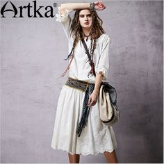 Artka Women's Spring Bohemian White Dress 2015 New Arrival Breathable Material Modern Lady Casual Cotton Dresses