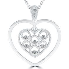 4175252856ee 0.10 Carat F-SI Art Deco Style Diamond Heart Pendant Necklace in 14k White  Gold