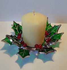 Stained Glass Christmas Holly Candle Holder by RavensStainedGlass, £25.00