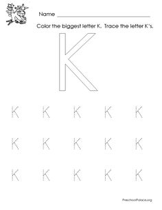 Letter K printable worksheet