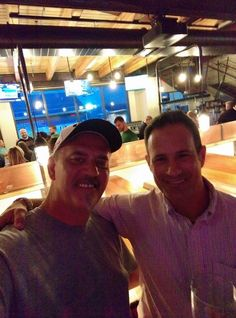 Sam and I at the pre-opening sneak preview of the new Dogfish Head Brewing and Eats Pre Opening, Dogfish Head, Brewing, Eat
