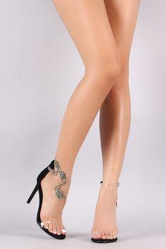 Shoe Republic LA Nubuck Lucite Ankle Strap Stiletto Heel