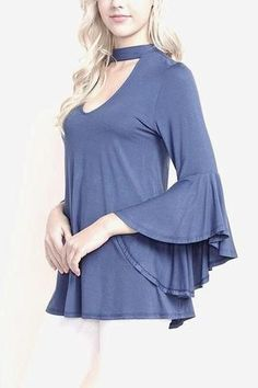 Bamboo Cut out Tunic in slate blue