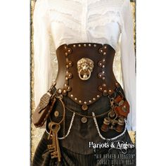 Brown Steampunk Corset Brass Lion All Sizes Air Kraken Assassin Corset... (230 CAD) ❤ liked on Polyvore