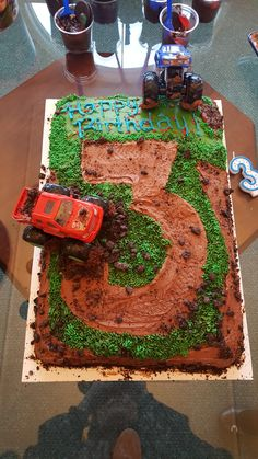 Monster truck themed third birthday sheet cake #cake #birthday #chocolate #food #dessert #yummy #love #baking #foodporn #sweet #recipe