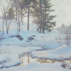 Walter Launt Palmer - Winter Reflections offered by Avery Galleries on InCollect Ice Painting, Oil Painting Tips, Watercolor Art Paintings, Winter Painting, Paintings I Love, Winter Art, Landscape Paintings, Winter Snow, Oil Paintings