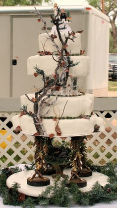 White Camo Wedding Cake By flutterbytd on CakeCentral.com OMG!!!!!!! I want this cake!