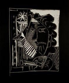 Le Peintre à la Palette (The painter at the easel) 1963. Pablo Picasso. Linocut on Arches paper