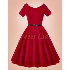Červené šaty v štýle vintage so širokou sukňou