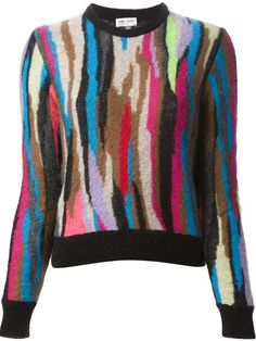 Saint Laurent patchwork jacquard sweater in Gaudenzi  farfetch.com.