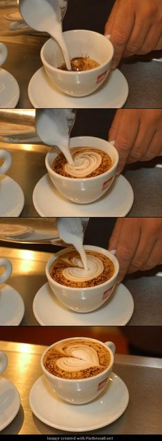 How to make a milk foam coffee heart...- tutorial Picture through pinthemall