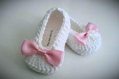 White Crochet Baby Booties, Christening, Baptism, Pink Bow Crochet Booties, Baby Girl Booties.