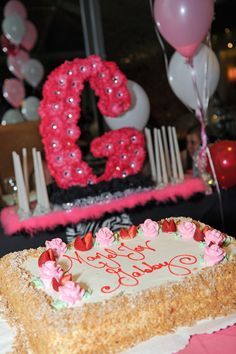 Pink Flower Candle Lighting & Bat Mitzvah Cake - mazelmoments.com