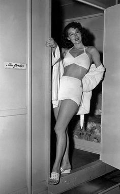 Ava Gardner outside her dressing room at MGM.