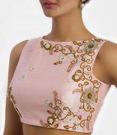 Baby Pink Bridal Work Readymade Blouse with stones zardosi and zari maggam work Chudidhar Neck Designs, Blouse Neck Designs, Blouse Patterns, Blouse Styles, Saree Jackets, Mehendi Outfits, Indian Blouse, Lesage, Blouse Dress