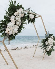 geometric tropical beach wedding backdrop ideas wedding decorations 25 Stunning Beach Wedding Ideas You can't Miss for 2020 - EmmaLovesWeddings Wedding Ceremony Arch, Beach Ceremony, Wedding Venues, Beach Wedding Arches, Wedding Beach, Backdrop Wedding, Wedding Aisles, Summer Beach Weddings, Beach Wedding Ceremonies