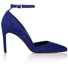 Diane von Furstenberg Women's Laredo Suede Ankle-Strap Pumps (€155) ❤ liked on Polyvore featuring shoes, pumps, heels, blue, blue pointed toe pumps, pointed toe high heel pumps, suede pumps, high heel shoes and suede pointed toe pumps