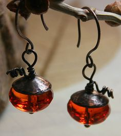 Glass Harvest Pumkins with Hammered Copper Bead Caps - Earrings