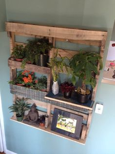 Pallet Shelf for Plants #LivingRoom, #PalletPlantStand, #PalletShelf, #RecycledPallet