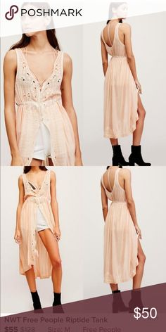 0b08484f23 Free People Riptide Tank Cute open front button down layering tank in  blush. Embroidered and cutout detail with adjustable tie. Worn once Free  People Tops ...