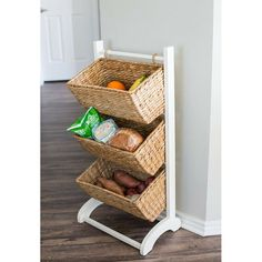 Bayou Breeze 3 Tier Abaca Storage Cubby (Natural) - 3 Baskets Made Of Durable Seagrass Fibre - Solid Wood Frame - Child Pet Dog Toy Food Storage Organizer Shelf - Kitchen Vertical Rack Unit Stand Book Baskets, Metal Baskets, Basket Shelves, Food Storage Organization, Cubby Storage, Storage Baskets, Wall Mounted Kitchen Storage, Storing Towels, Standing Shelves