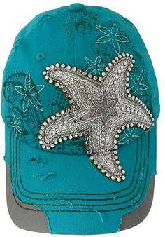 eeeea9a0e56d1 Turquoise Starfish Distressed Embellished Baseball Cap  hat  womens  Baseball Caps For Sale