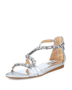 Carey Crystal Leather Sandal by Badgley Mischka at Neiman Marcus Last Call.