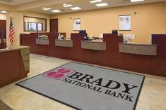 Custom bank logo rugs will help project a professional image at your bank and keep bank floors clean and safe. Free Samples an Artwork.