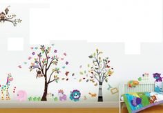Grote muursticker bomen voor in de kinderkamer of babykamer.  http://www.stickerkamer.nl/a-37852467/bomen/2-muursticker-bomen-met-dieren/