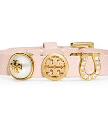 Light Oak/shiny Brass Tory Burch Lucia Initial Charm Bracelet
