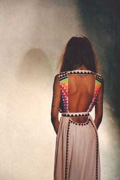 Backless Tribal Boho Choc White Dress With Multicoloured Outline Spring/Summer Ready