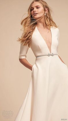 bhldn spring 2018 bridal half sleeves deep v neck simple clean elegant classy ankle length short wedding dress with pockets (14) zv -- BHLDN Spring 2018 Wedding Dresses #wedding #bridal #weddings