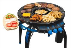 Blacktop 360 Grill-Fryer    Every grill out there can cook burgers and dogs but only this one can also make your fries. At its center is a 20oz. deep fryer for french fries or anything else you want to boil in oil and around the fryer are surfaces including a grill, skillet, warming plate, and even a cutting board.