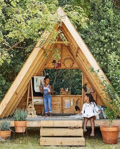 Gardening for kids, Play houses, Outdoor play areas, Backyard play, Backyard pla. Backyard for kids outdoor play areas Diy Playhouse, Playhouse Outdoor, Childrens Playhouse, Backyard Playground, Backyard For Kids, Backyard Fort, Backyard Ideas, Garden Ideas, Backyard Games