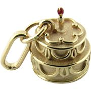 Vintage 14 Karat Yellow Gold Birthday Cake Charm