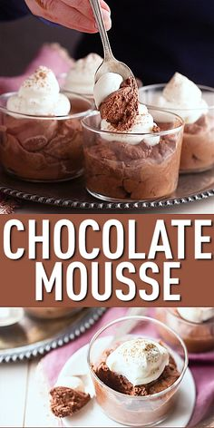This easy chocolate mousse recipe whips up in just 15 minutes! So airy & light, with a rich, deep chocolate flavor. Fancy, yet so quick & simple! Easy Chocolate Mousse, Chocolate Flavors, Chocolate Recipes, Chocolate Moose, Nutella Mousse, Chocolate Mouse Cake Filling, Eggless Chocolate Mousse Recipe, Chocolate Mouse Recipe, Coffee Mousse