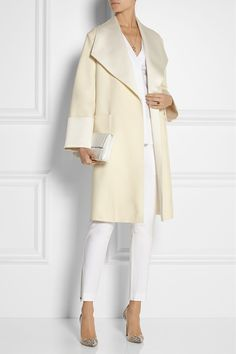 Cream wool-blend Concealed button fastening at front 55% wool, 32% acetate, 13% viscose Dry clean